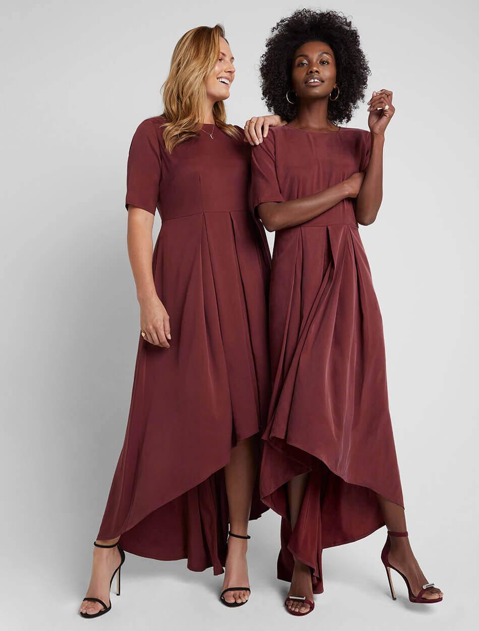 Brushed-Back Hi-Low Dress