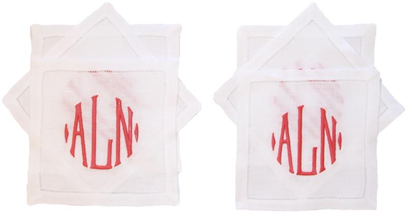 NUMBER FOUR ELEVEN           monogrammed cocktail napkins