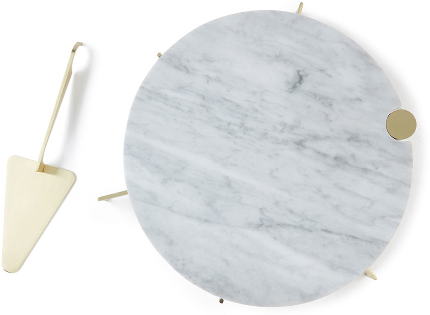 GRACE SOUKY marble cake stand + server set