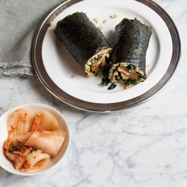 kimchi and rice nori wrap