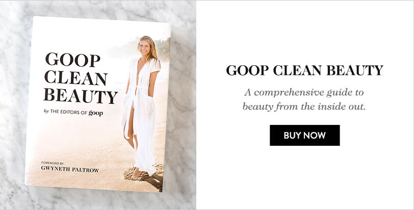 Goop Clean Beauty book on top of a marble table