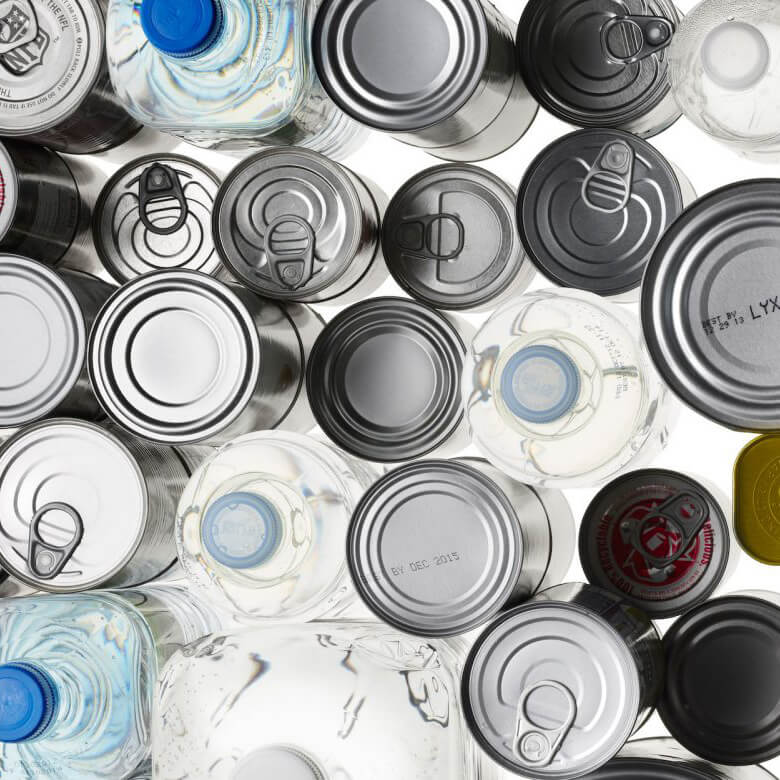 various plastic bottles and aluminum cans