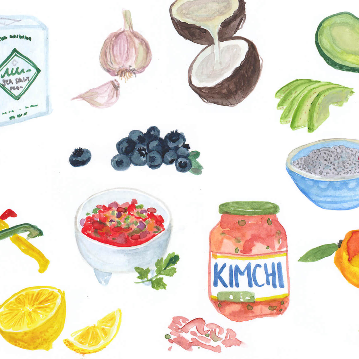 illustration of clean food ingredients