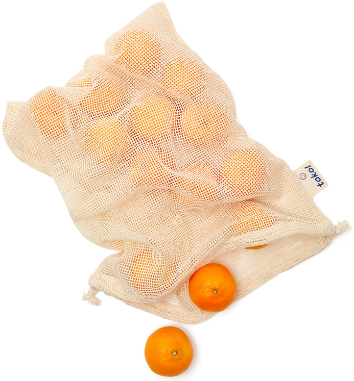 toko ORGANIC COTTON            DRAWSTRING PRODUCE            BAGS, SET OF 3