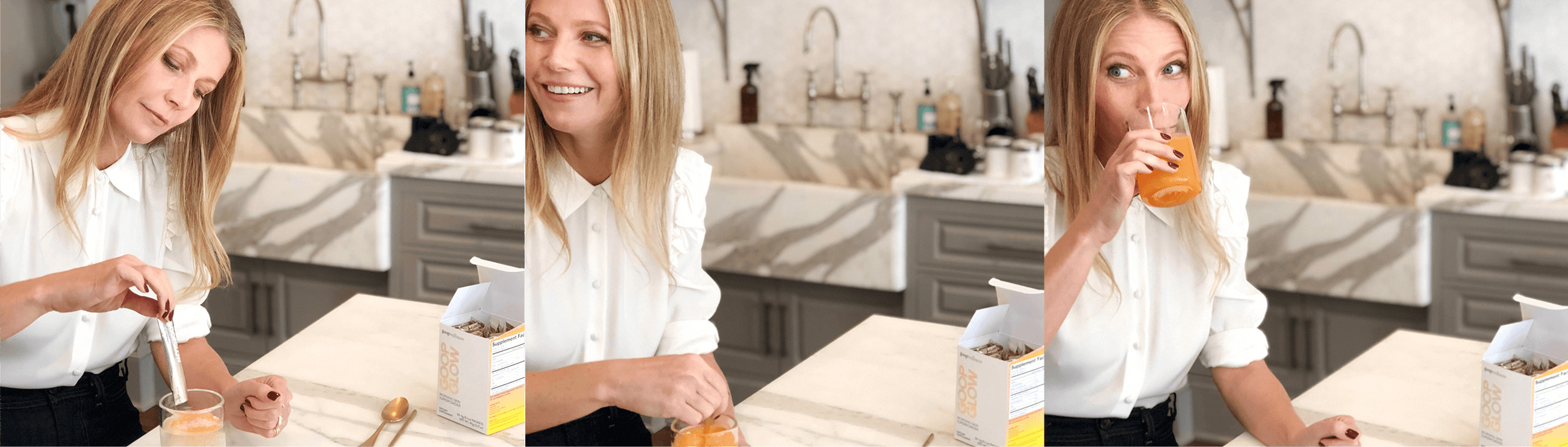 Gwyneth Paltrow Drinking goop Wellness goopglow
