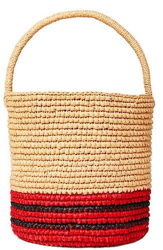 Sensi Studio Striped Lined Bucket Bag