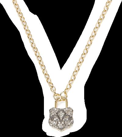 Kristie Le Marque Pave Diamond Lock Pendant Necklace