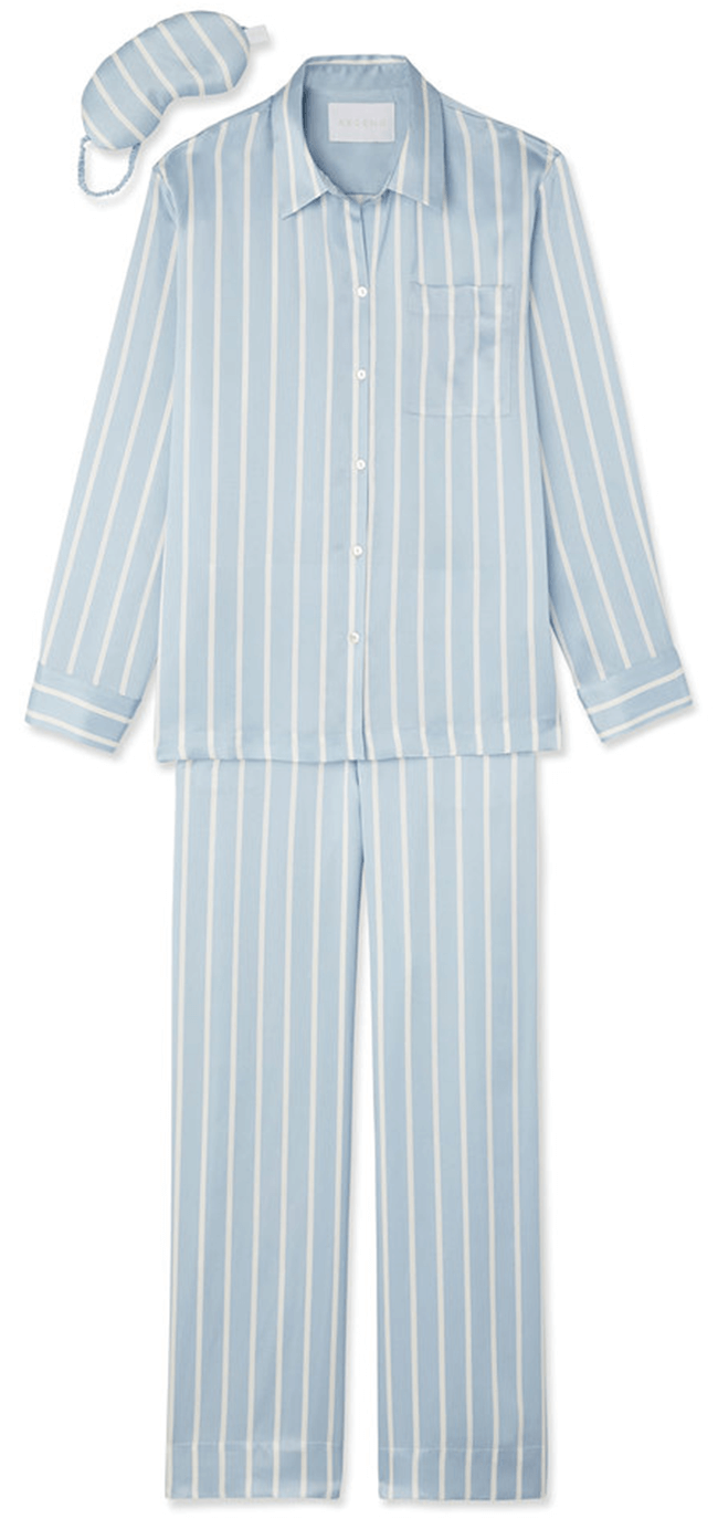 Asceno Striped Pajama Top, Bottoms, and Eye Mask