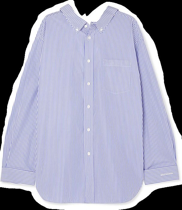 Balenciaga Swing Printed Striped Cotton Poplin Shirt