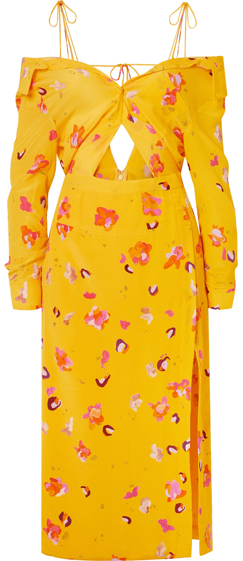 Altuzarra Adele Cold Shoulder Cutout Floral Print Silk Crepe Dress