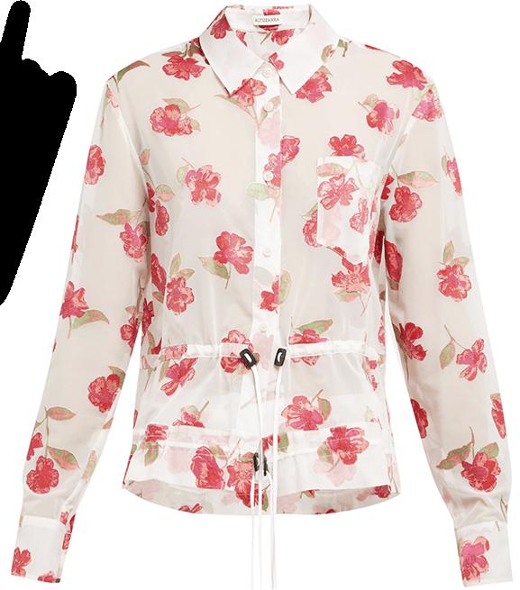 Altuzarra Lia Floral Devor Crepe Drawstring Shirt