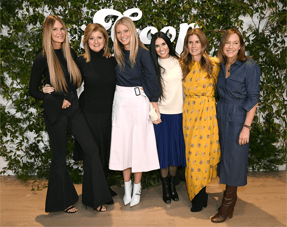 WelleCo cofounder Elle Macpherson, Arianna Huffington, GP, Demi Moore, Gucci Westman, and Beautycounter founder and CEO Gregg Renfrew.