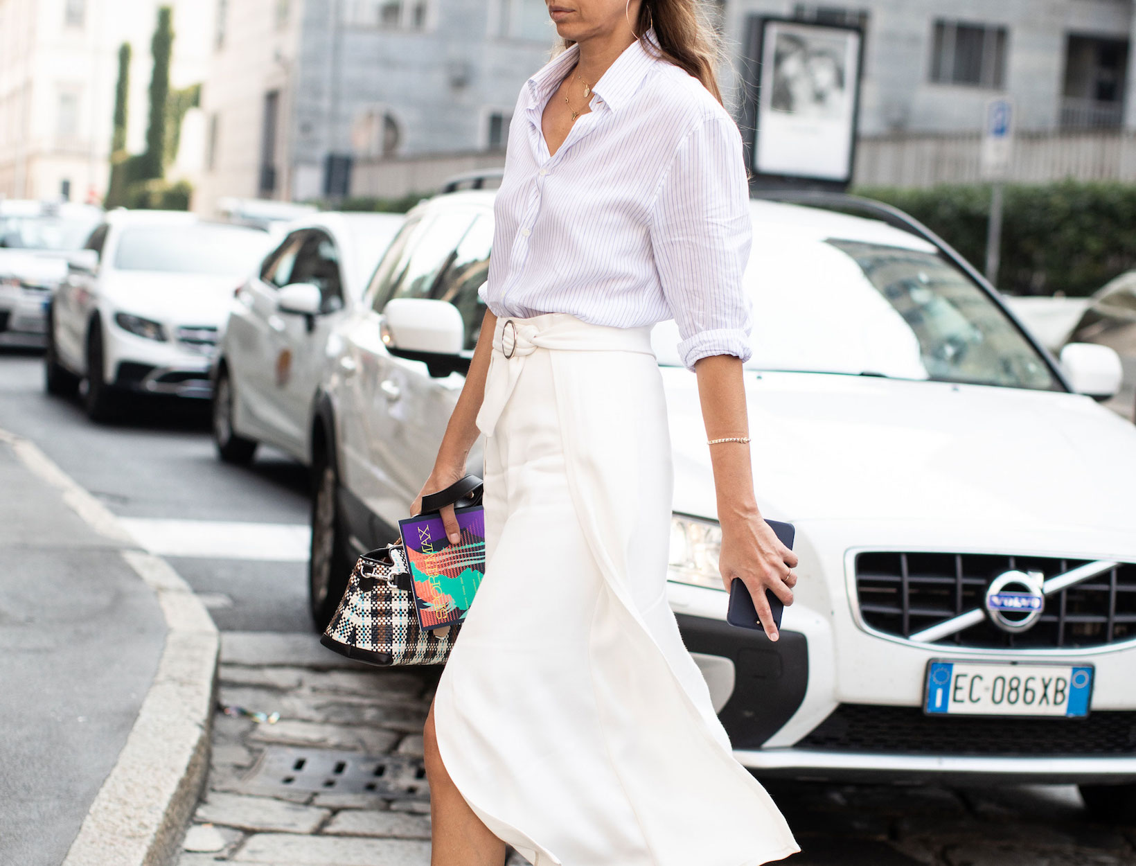 Fashion Uniform:  Button-Down Shirt + Midi Skirt + Sandals