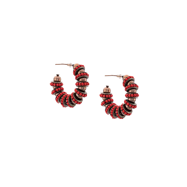Carolina Herrera Beaded Hoop Earrings