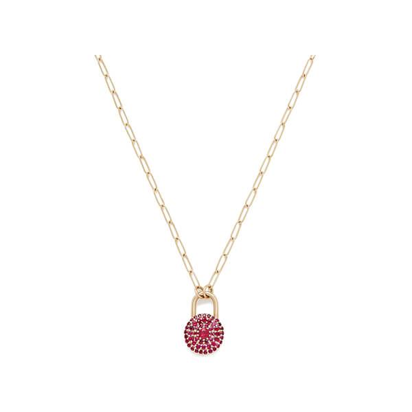 Sophie Ratner Ruby Encrusted love Lock Necklace