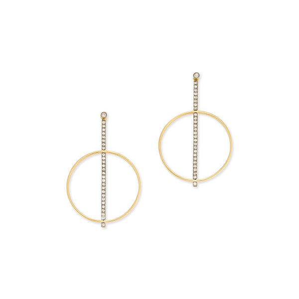 Kirstie le Marque Pave Diamond Bar with Hoop Earrings