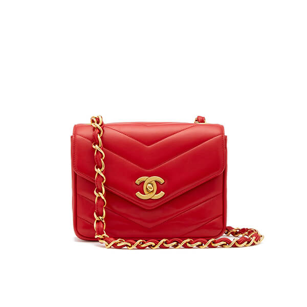 What Goes Around Comes Around Chanel Red Lambskin Chevron Flap Bag