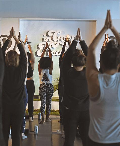 Faith Hunter leads yoga class