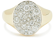 Eriness Diamond pinky Yellow Gold Signet Ring