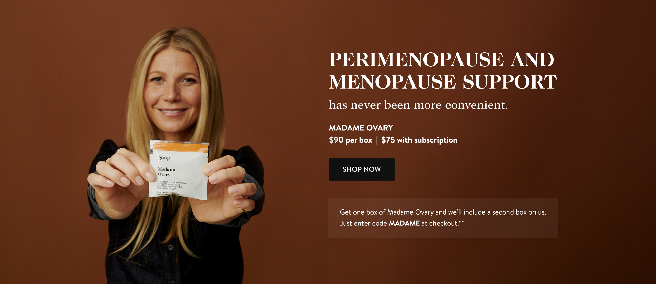 Gwyneth Paltrow holding Madame Ovary Vitamin Pack