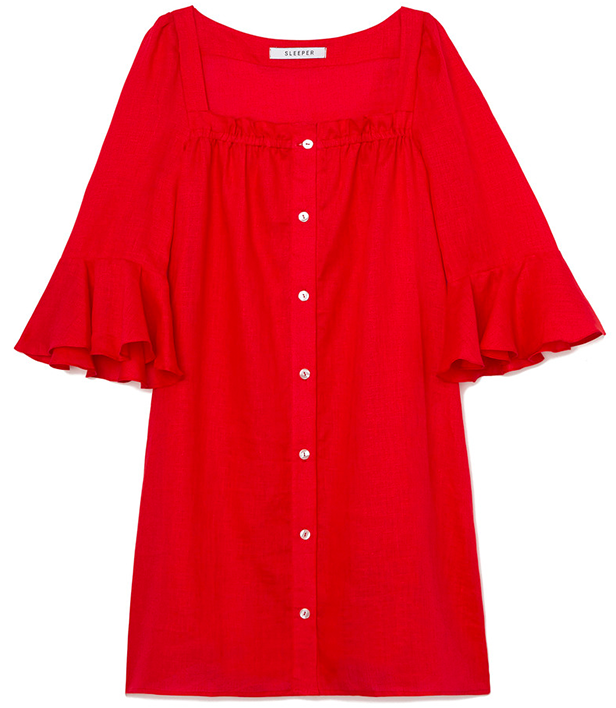 Sleeper JANE LINEN MINI DRESS