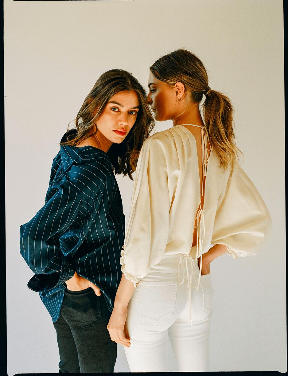 Joanna Halpin and Christie Tyler modeling