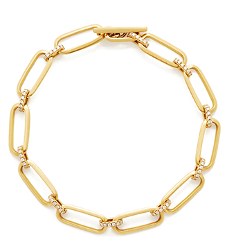Lizzie Mandler Knife Edge Flat Link Bracelet with Diamonds