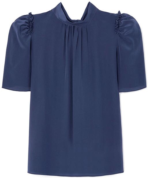 G. Label Bri Short-Sleeve Tie Blouse