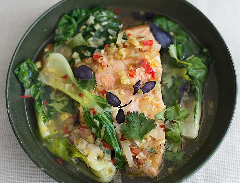 Poached Thai Salmon with Bok Choy