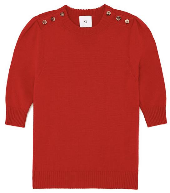 G. LABEL                 Churches Button Shoulder Short Sleeve Sweater