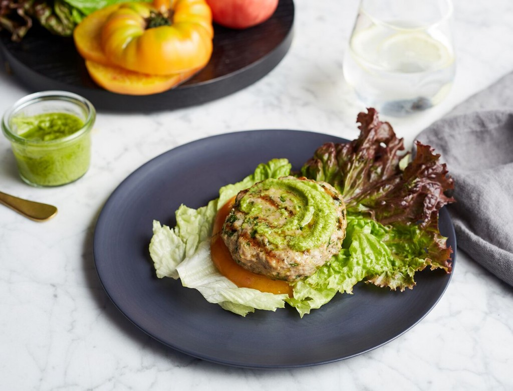 Lettuce-Wrapped Turkey Burger with Basil Guac