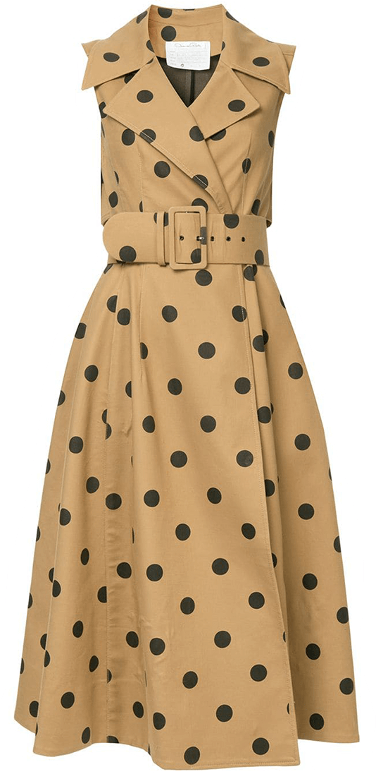 Oscar De La Renta Polka Dot Wrap Dress