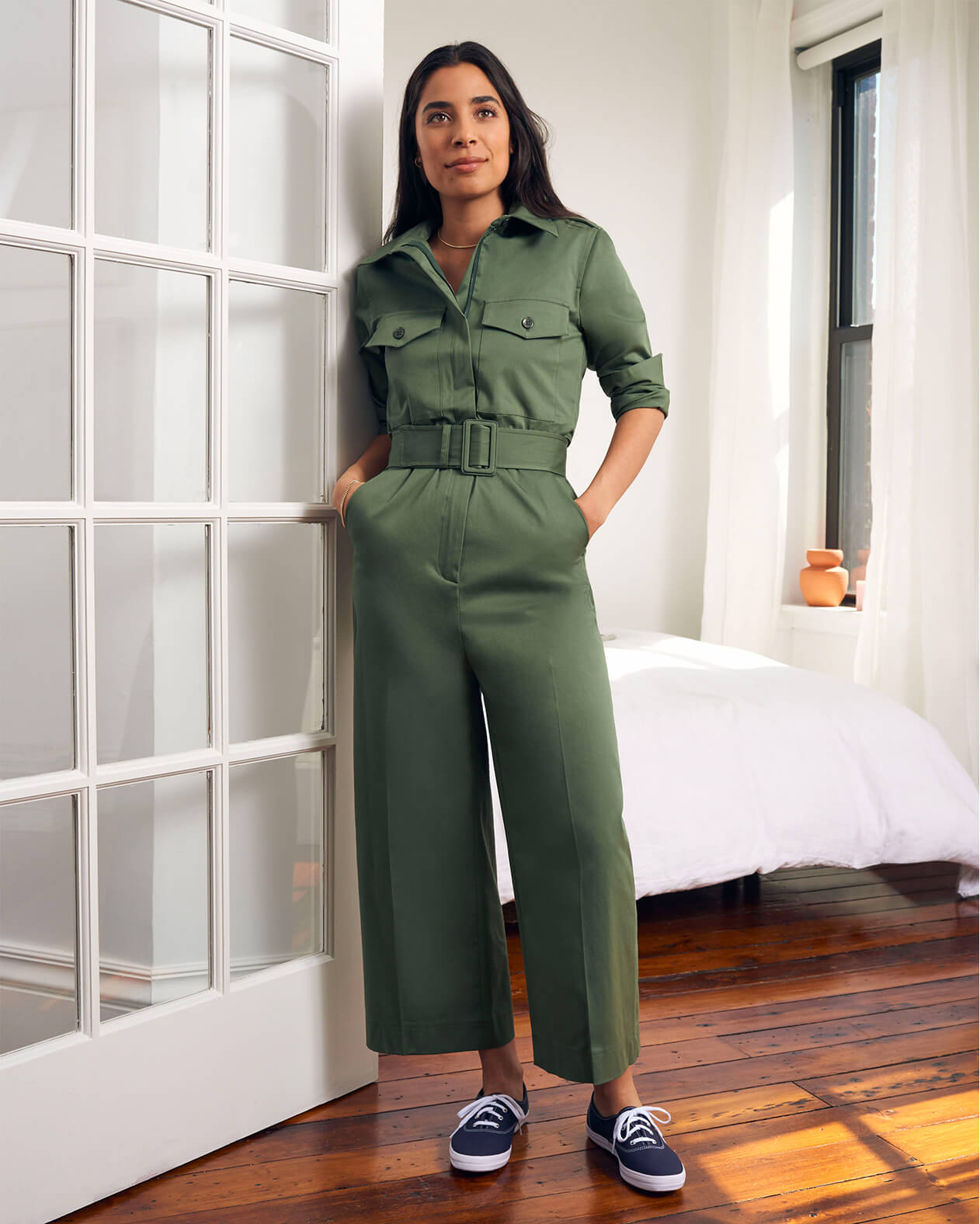 Bianca Valle in Green Julian Workwear Jumpsuit