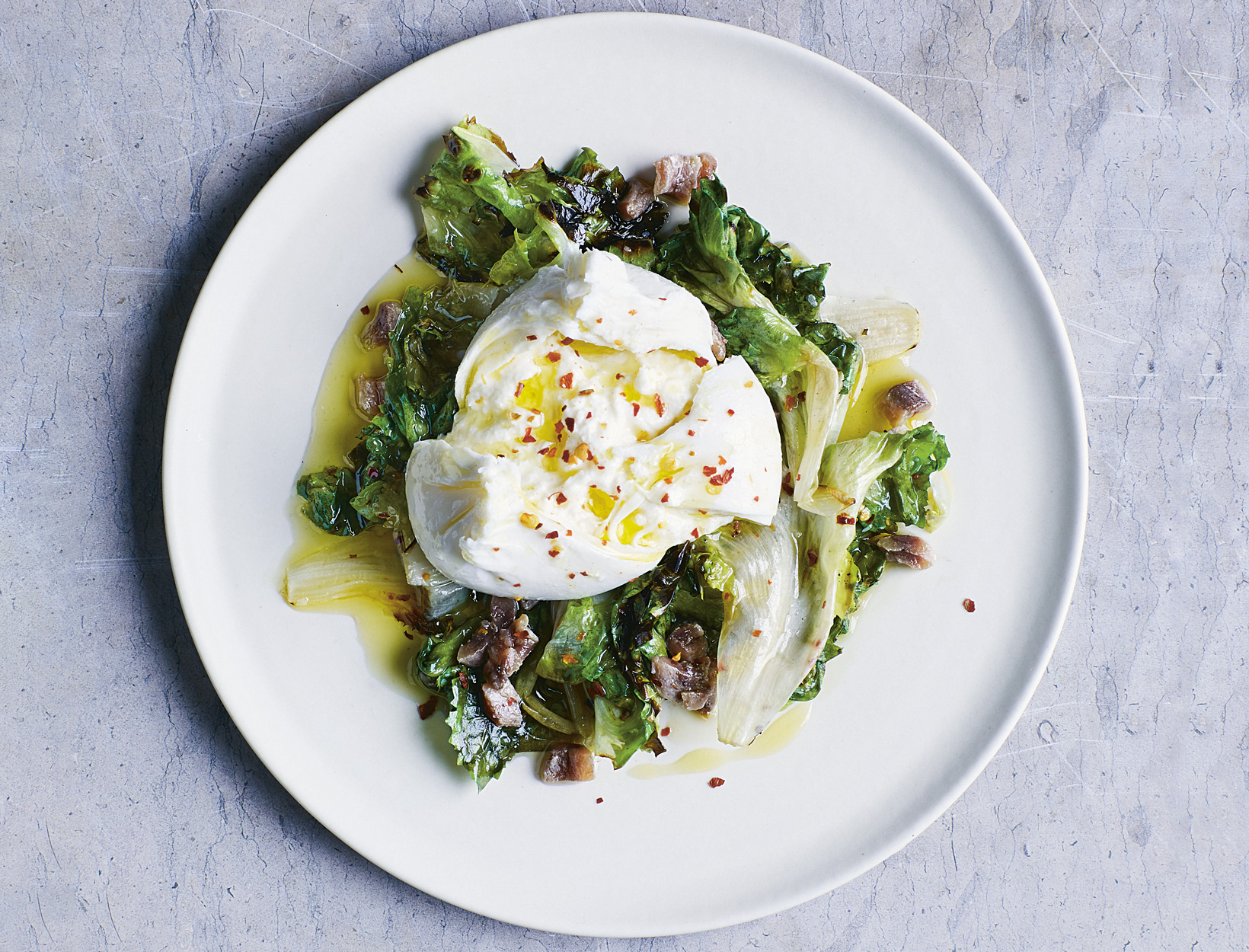 Burrata, Escarole, and Chili Flakes