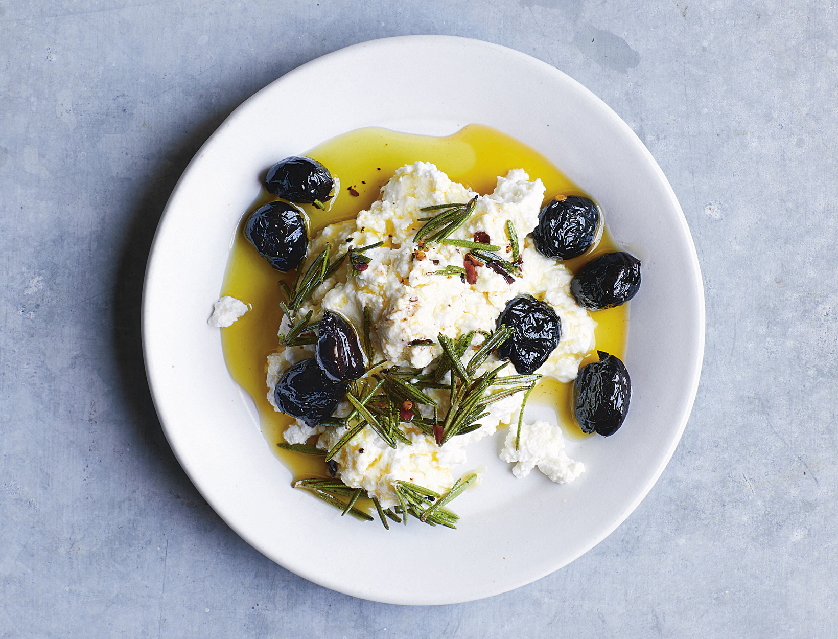 Ricotta, Pan-Fried Black Olives, and Rosemary