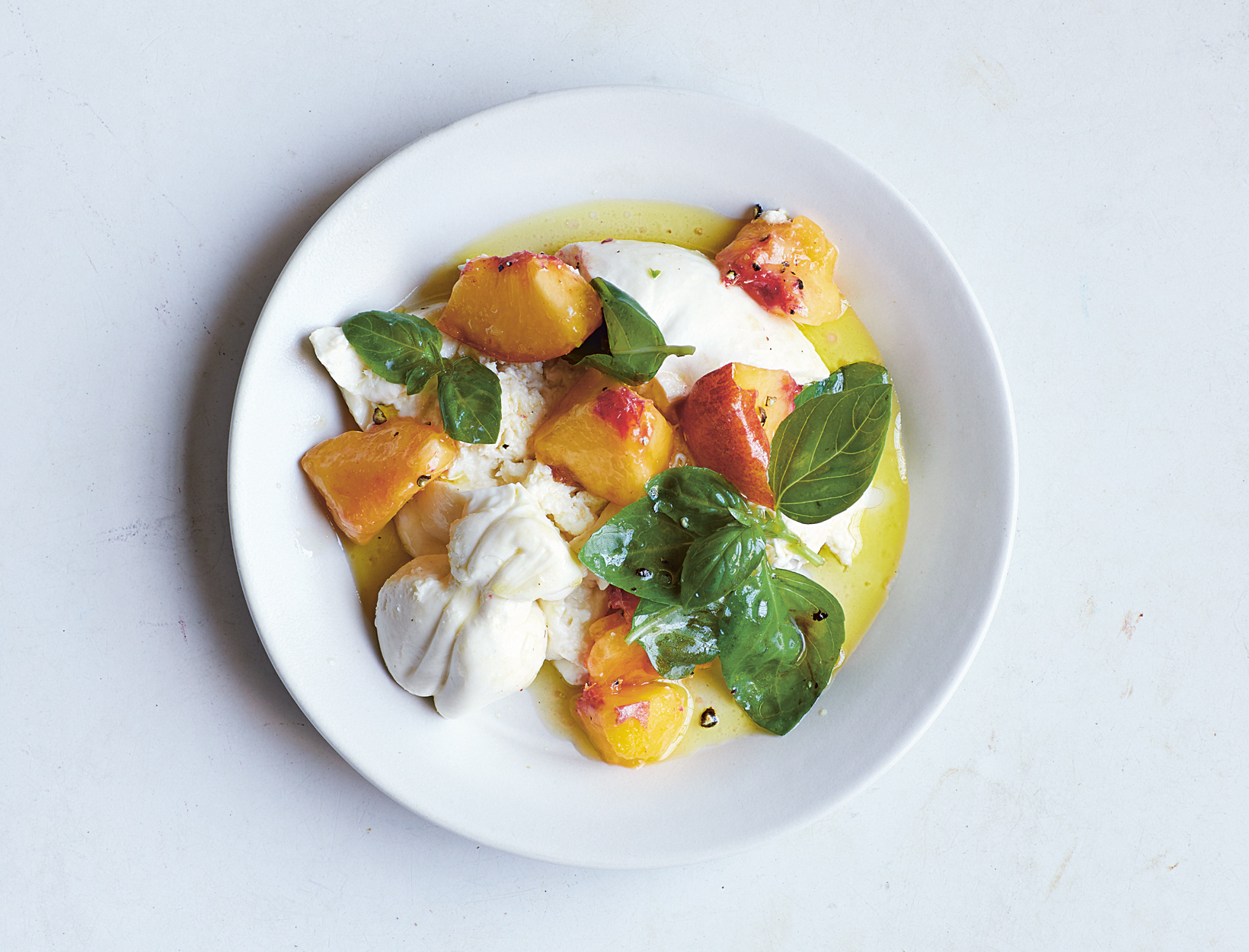 Burrata, Peach, and Basil