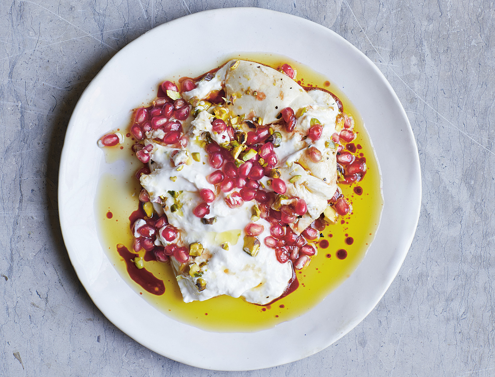 Burrata, Pomegranate, and Pistachio