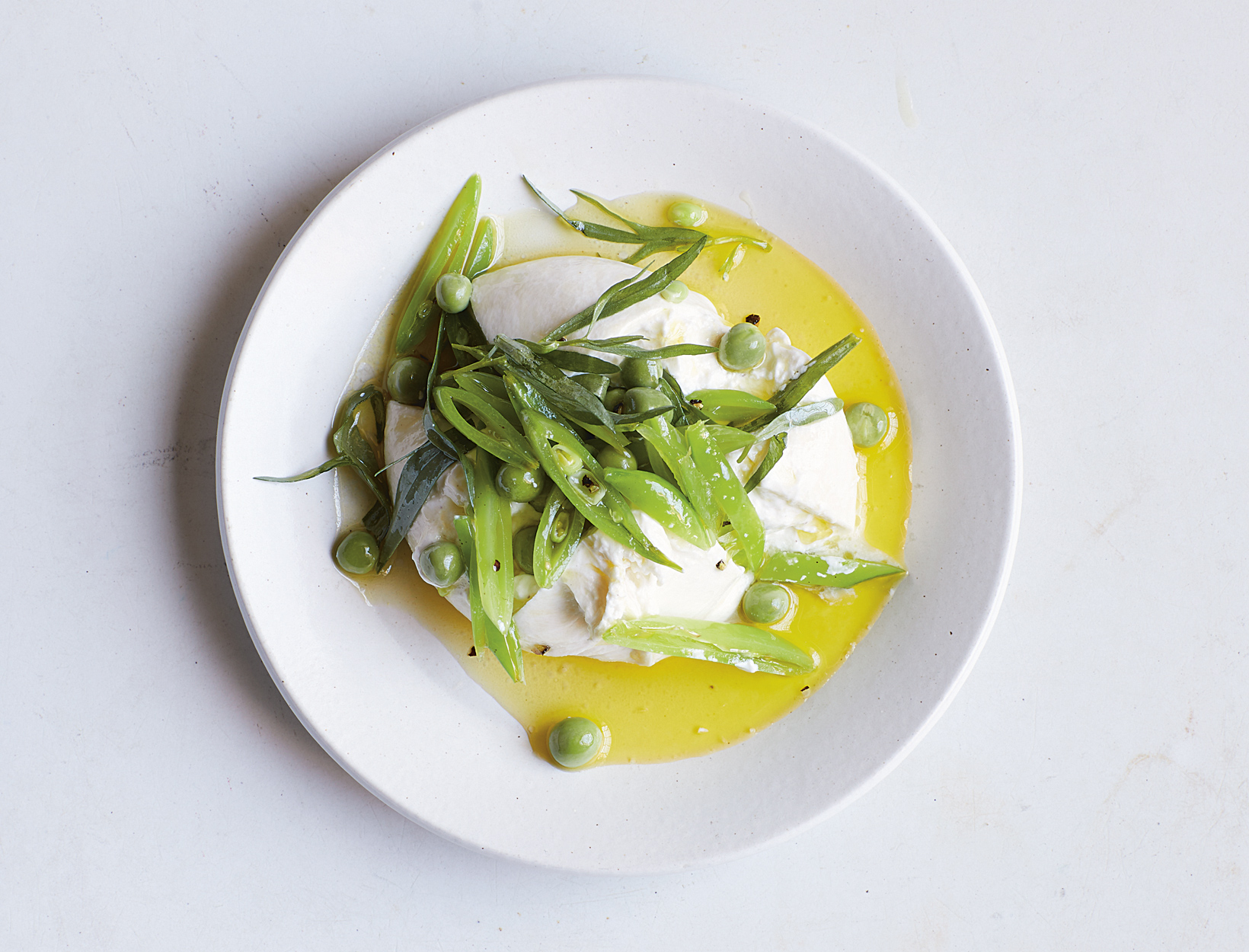 Burrata, Sweet Peas, and Tarragon