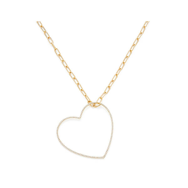 ROSA DE LA CRUZ 40mm Heart Gold Diamond Pendant Necklace
