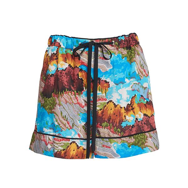 Victoria Beckham Printed Satin Shorts