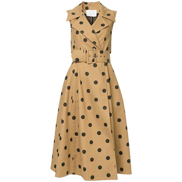Oscar De La Renta Polka Dot Wrap Dress