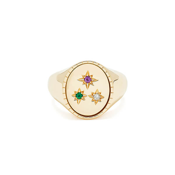 BONDEYE JEWELRY Isabella Yellow-Gold Signet Ring