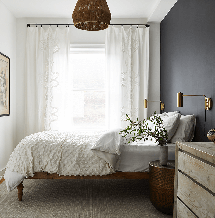 Bedroom with lamp on ceiling