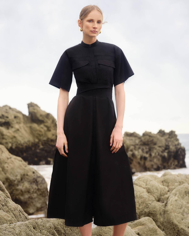 Burke Wide-Sleeve Shirtdress