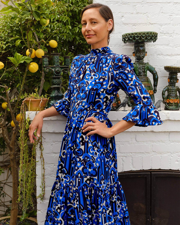 Midi Visconti Crepe de Chine Dress