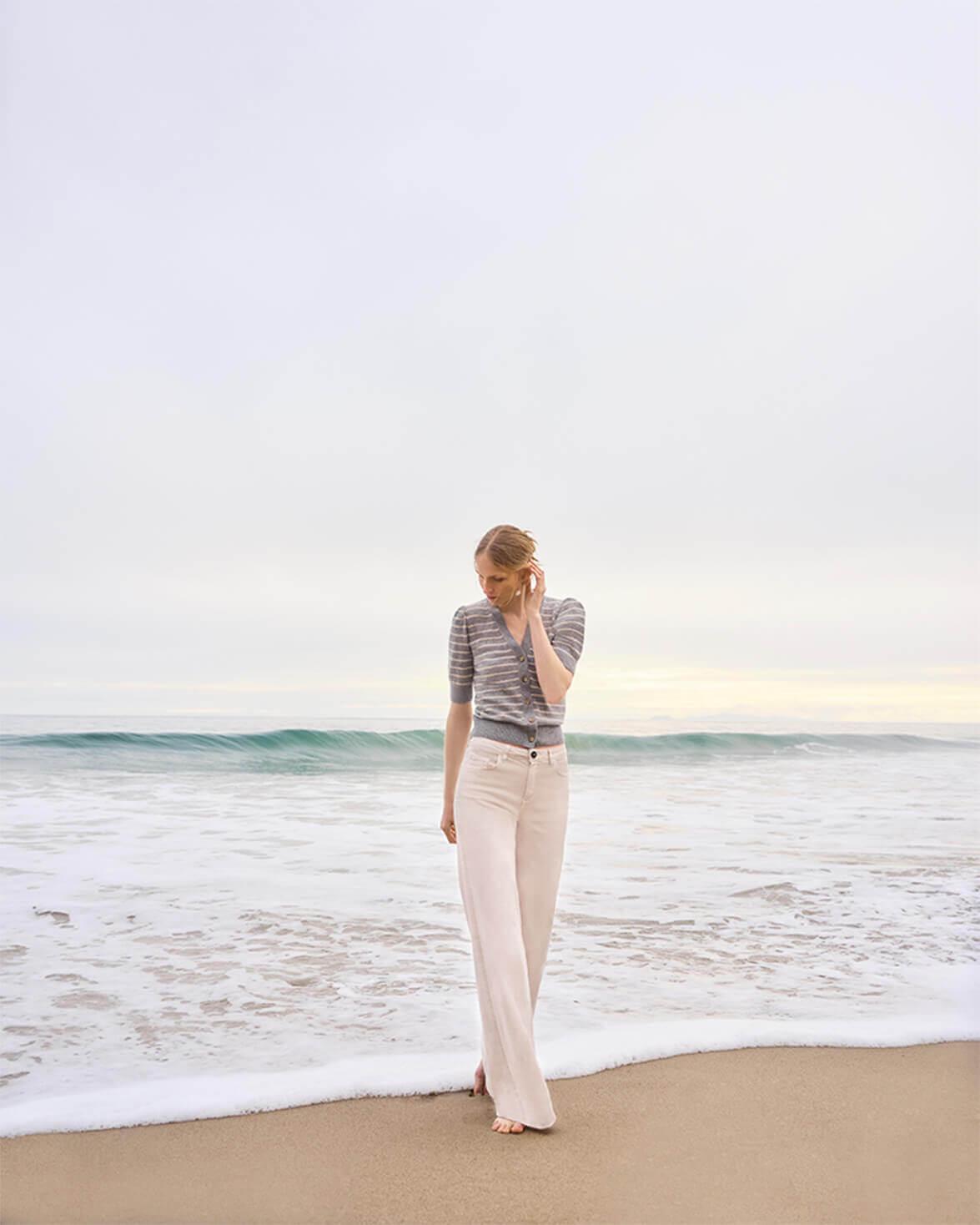 Juliette Short-Sleeve Striped Cardigan