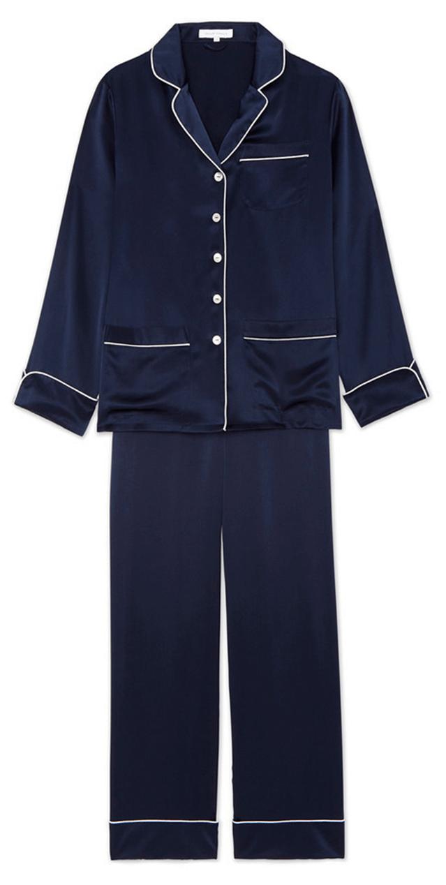 OLIVIA VON HALLE Coco Silk Long-Sleeve Pajama Set