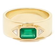 EMERALD NESW DIAMOND RING