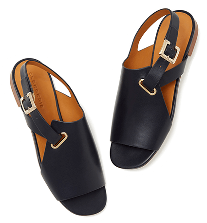 Clergerie Ada Navy Leather Sandals