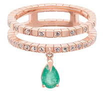 Diane Kordas Spectrum 18kt Rose Gold Diamond Emerald Ring